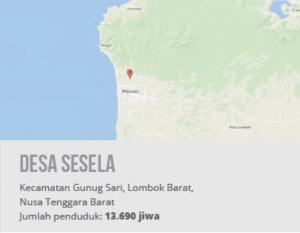Peta Desa Sesela, Kecamatan Gunug Sari, Lombok Barat, Nusa Tenggara Barat