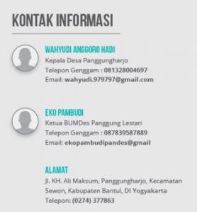 Kontak BUMDes Panggung Lestari