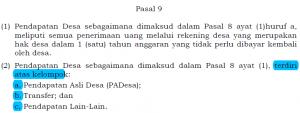 Permendagri 113 pasal 9