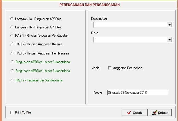 Laporan Penganggaran Versi 2018