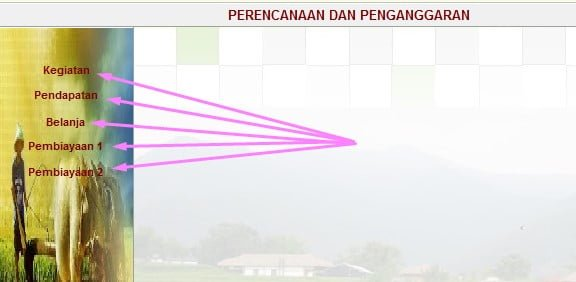 Menu Isian Data Anggaran