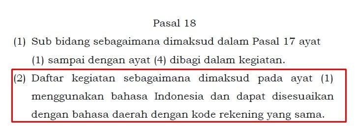 perrnendagri pasal 18 ayat 2