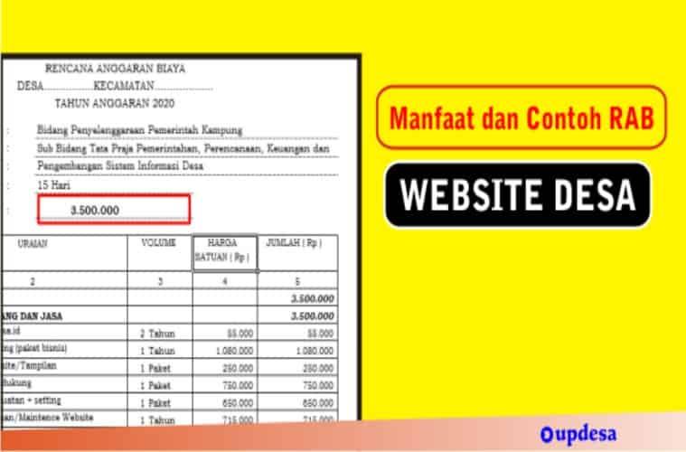 Manfaat Website Desa Dan Contoh Rab Pembuatannya Updesa