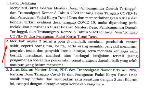isi surat edaran menteri desa nomor 11 tahun 2020