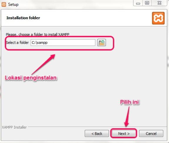 lokasi install XAMPP