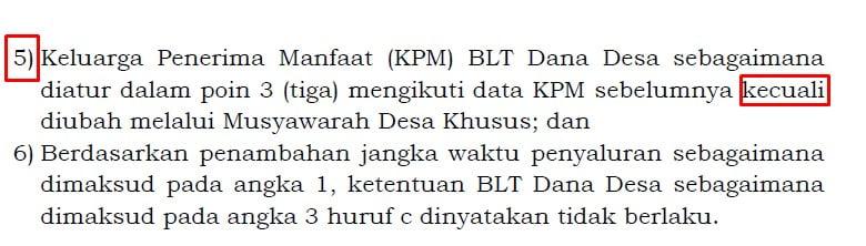 Lampiran II Permendesa Nomor 7 Tahun 2020 huruf (Q) angka 3b point 5