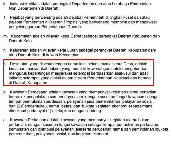 pengertian desa menurut UU No. 22 Tahun 1999