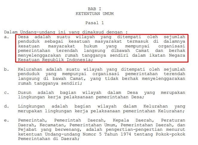 definisi desa menurut UU No. 5 Tahun 1979