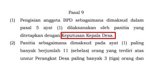 keputusan kepala desa tentang panitia BPD Desa