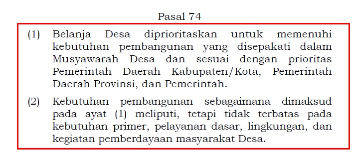 pasal 74 UU Desa