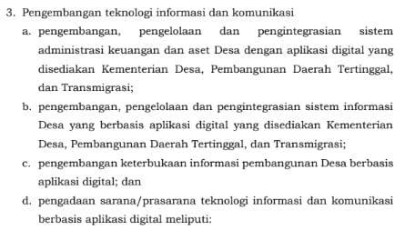 pengembangan teknologi informasi dan komunikasi desa