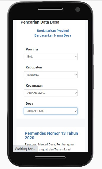 pencarian data desa berdasarkan provinsi di situs sid.kemendesa.go.id