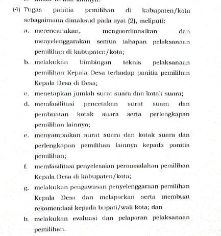 tugas panitia pemilihan kepala desa tingkat kabupaten dan kecamatan