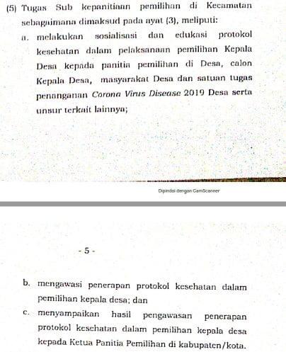 tugas panitia pemilihan kepala desa tingkat kecamatan