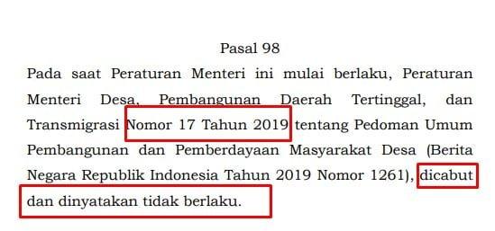 Permendes 17 Tahun 2019 secara resmi dicabut