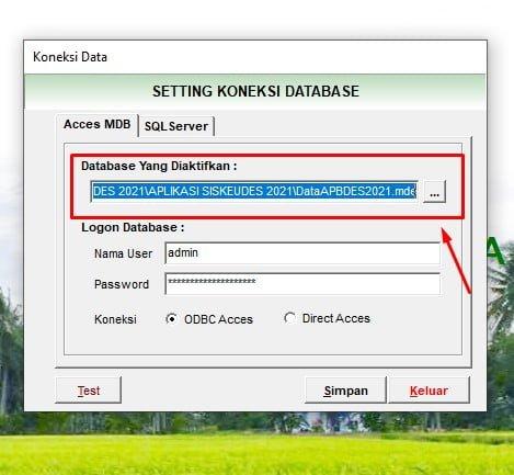 Koneksi Database Siskeudes 2.0.3