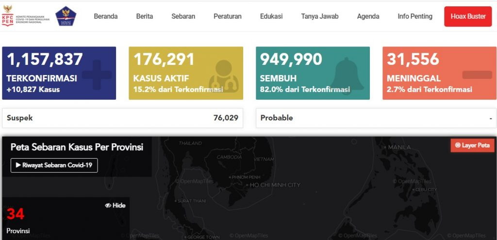 peta penyebaran Covid-19 Indonesia