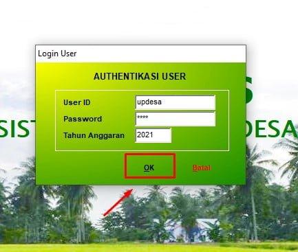 authentikasi user Instal Siskeudes 2.0.3