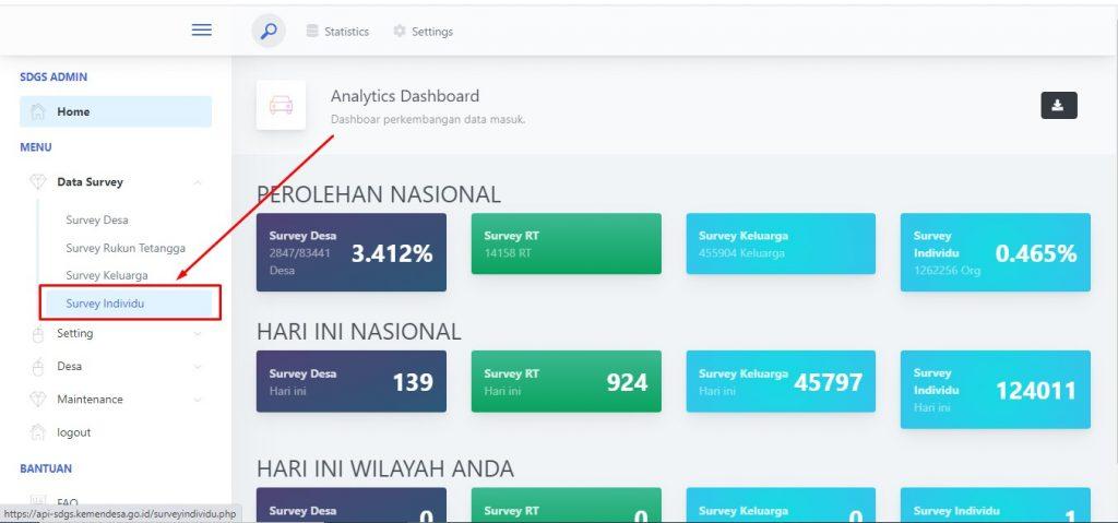 survey individu dashboard admin aplikasi sdgs desa
