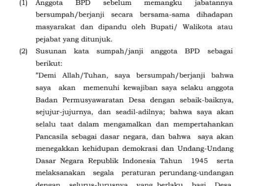 sumpah/janji anggota Badan Permusyawaratan Desa